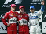 Schumacher gives podium to Barrichelllo.