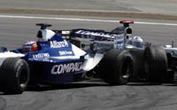 European Grand Prix, Montoya and Coulthard out of race.